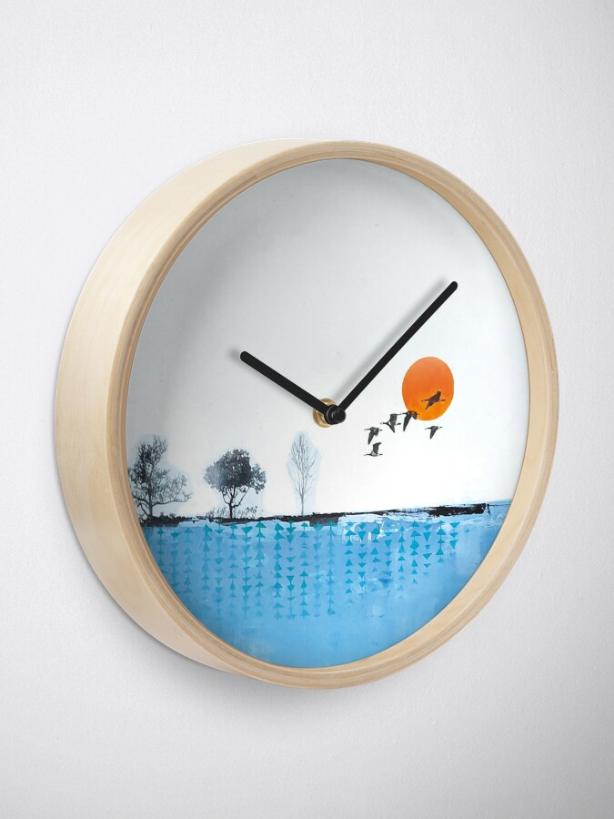 Alternate view of Picture of an original painting, skyline Clock