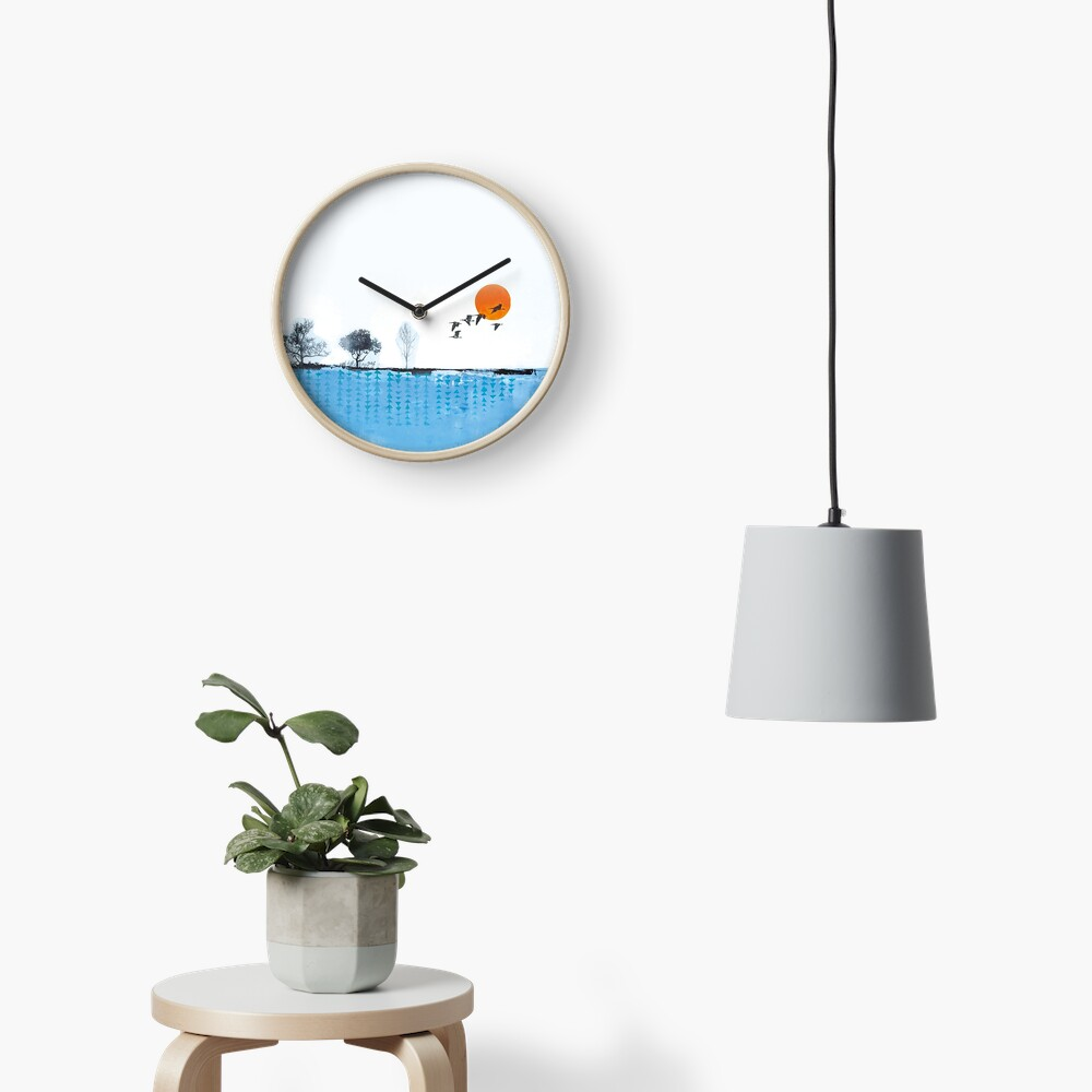 Picture of an original painting, skyline Clock