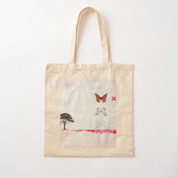Picture of an original painting, orange butterfly Cotton Tote Bag