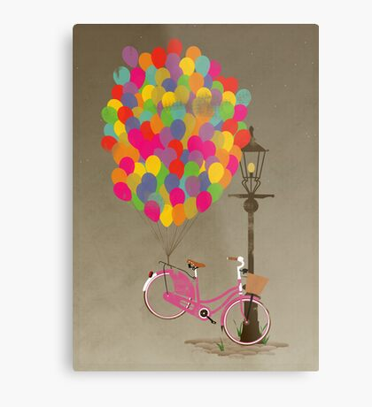 Love to Ride my Bike with Balloons even if it's not practical. Metal Print
