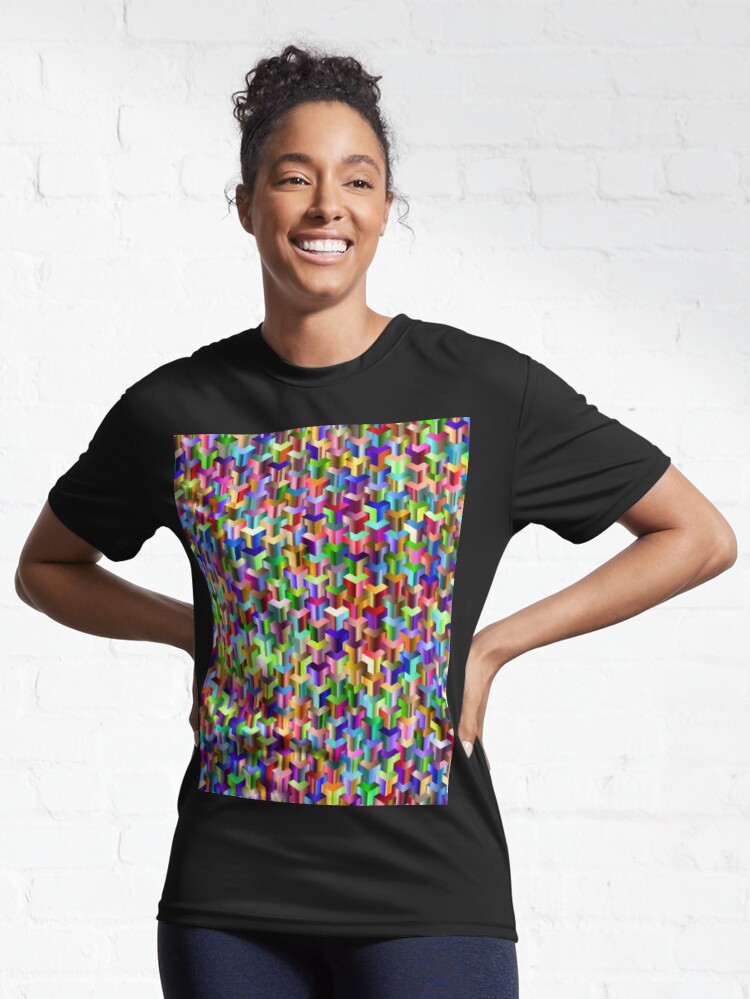 Alternate view of Visual Psychedelic Art, Easy Optical ILLusion Tessellation Active T-Shirt