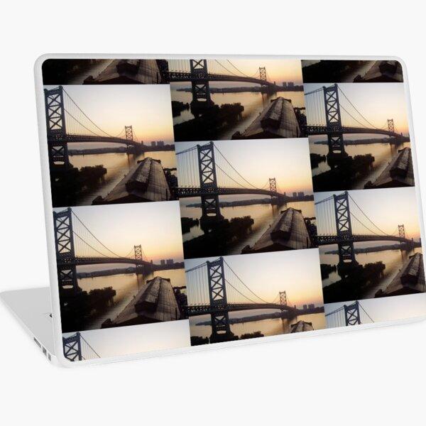 Dawn, Ben Franklin Bridge in Philly Laptop Skin