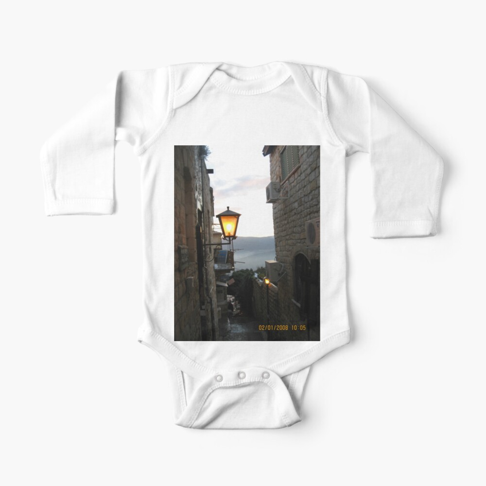 Israel, Alley, Street Light Baby One-Piece