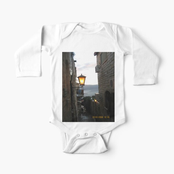 Jewish,  Israel, Alley, Street Light Long Sleeve Baby One-Piece