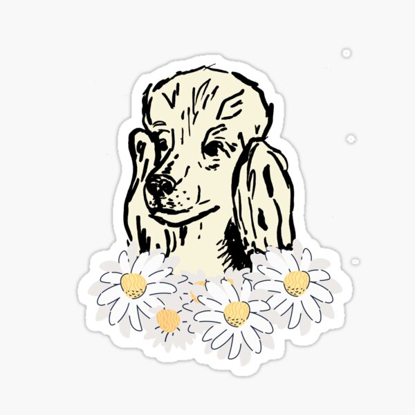Poodle with flowers,  Sticker