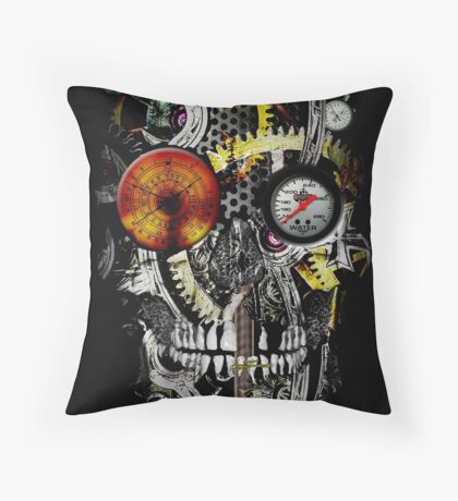 steam powered skull Throw Pillow