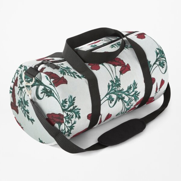 Red Poppies Vintage Victorian Wallpaper Duffle Bag