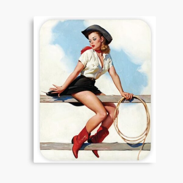 Vintage Pin Up Cowgirl Canvas Print