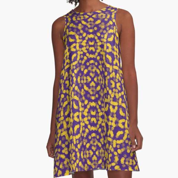 Artsy Purple and Gold Yellow Game day  Pattern A-Line Dress