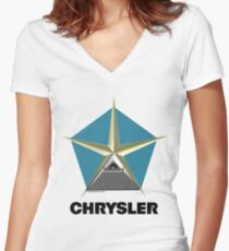 Chrysler Pentagram Pyramid Pentagon Esoteric Automotive Symbol Logo Women's Fitted V-Neck T-Shirt