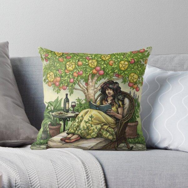 Everyday Witch Tarot - Nine of Pentacles Throw Pillow