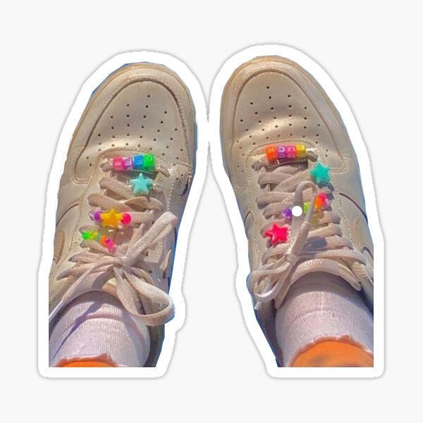 air force ones with rainbow beads design Sticker