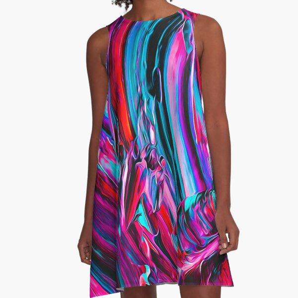 Abstract Liquid Paint  A-Line Dress