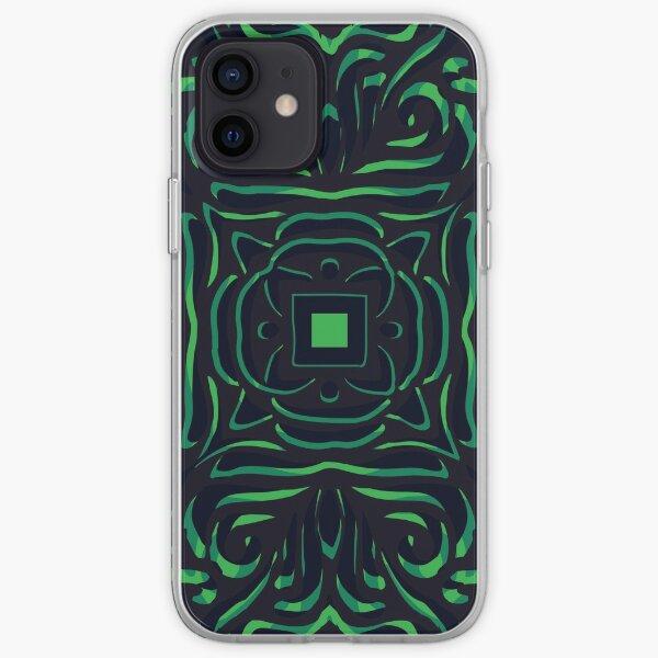 Black & Green Swirly Mandala iPhone Soft Case