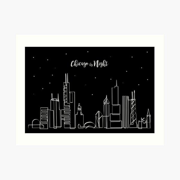 Skyline de Chicago de noche Lámina artística