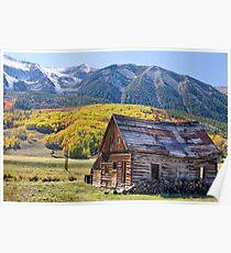 Rustic Rural Colorado Cabin Autumn Landscape Poster