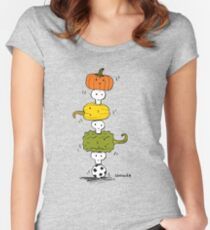 Pumpkin Skull Totem Pole Women's Fitted Scoop T-Shirt
