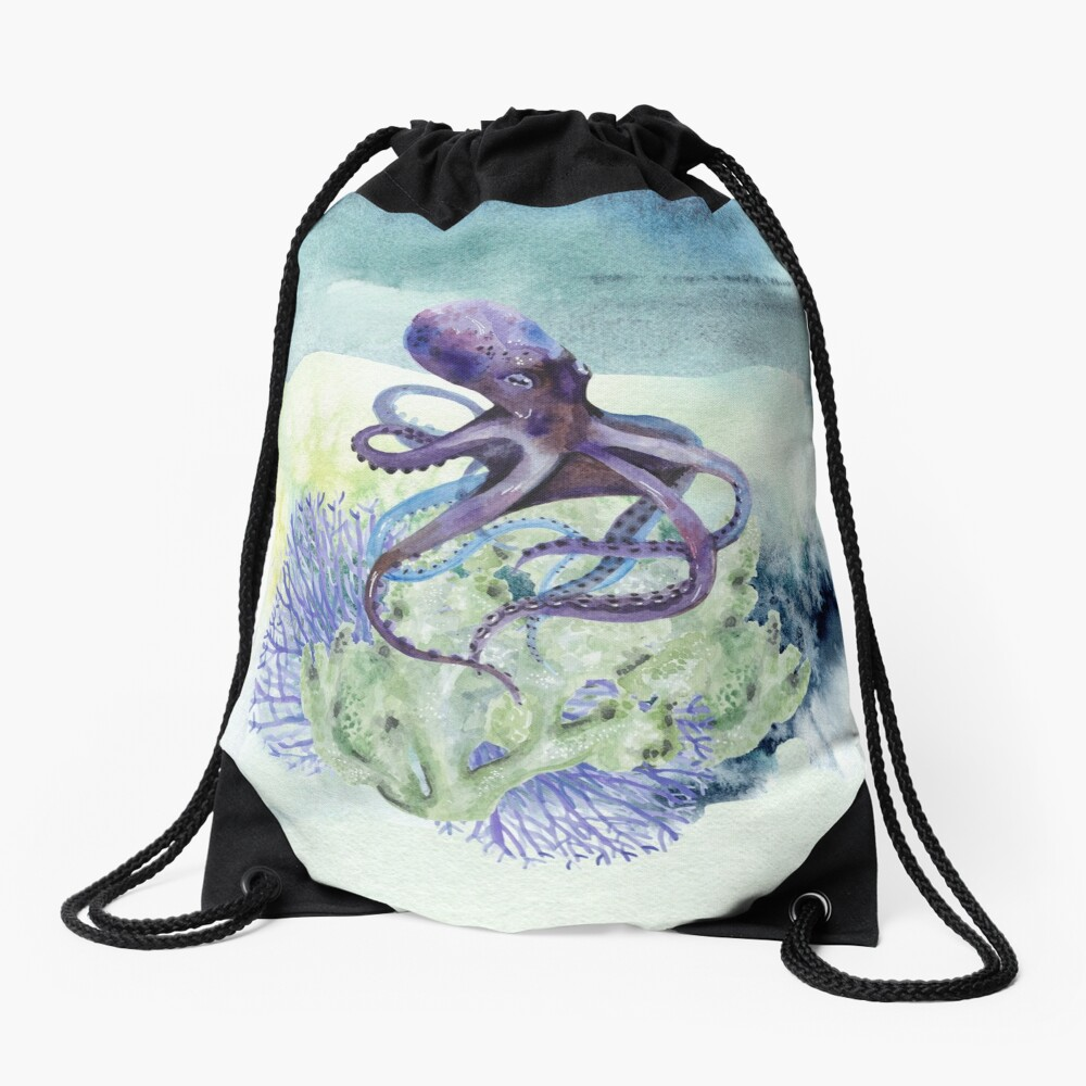 Watercolor Under Sea Collection: Octopus Drawstring Bag
