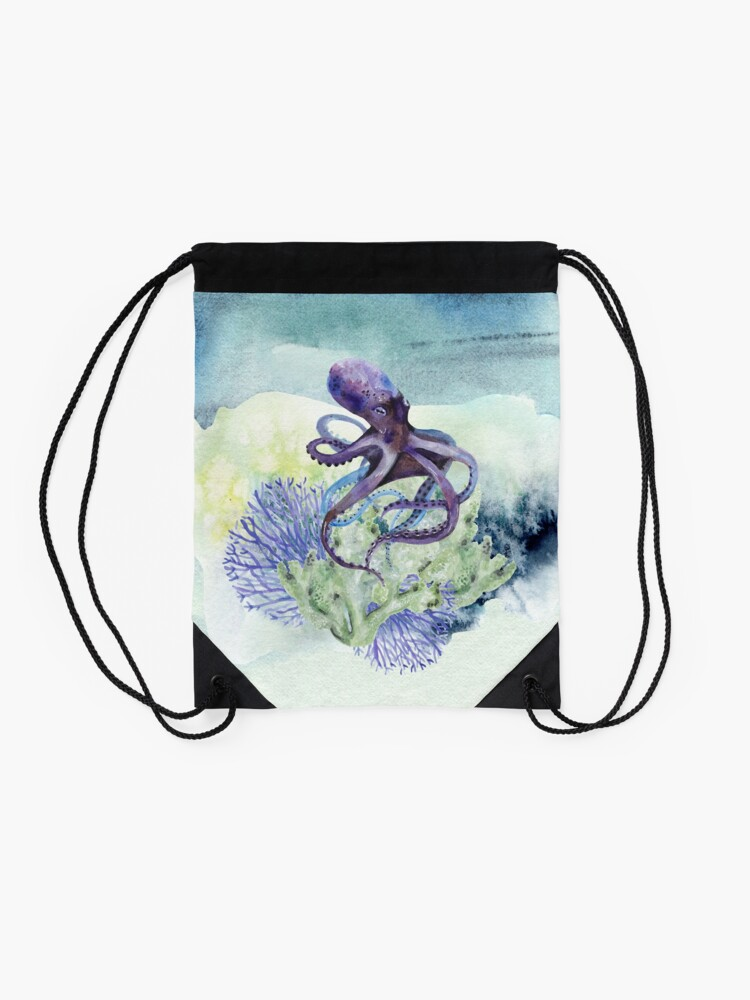 Alternate view of Watercolor Under Sea Collection: Octopus Drawstring Bag