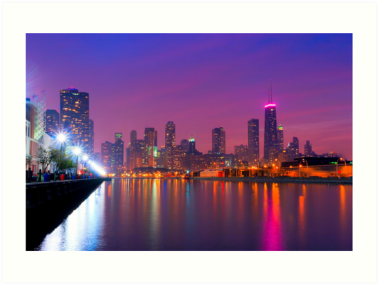 Rise Up - Chicago Skyline at Night by Mark Tisdale