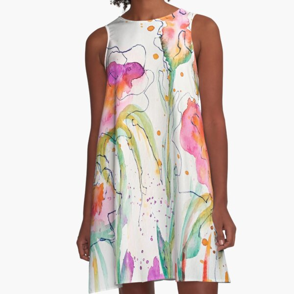 Flower Splash A-Line Dress