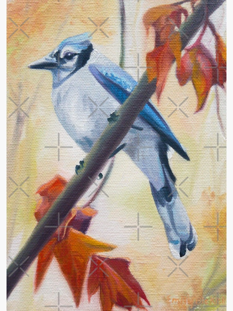 Prophet - blue jay in autumn painting by EmilyBickell