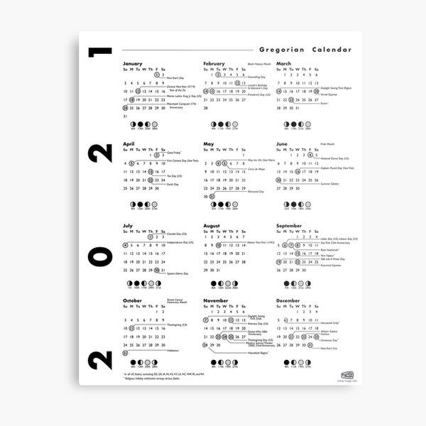 2021 Calendar Poster Metal Print