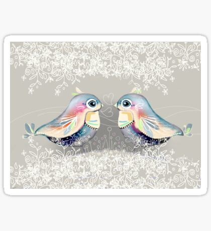 Exotic Silver Lovebirds Sticker