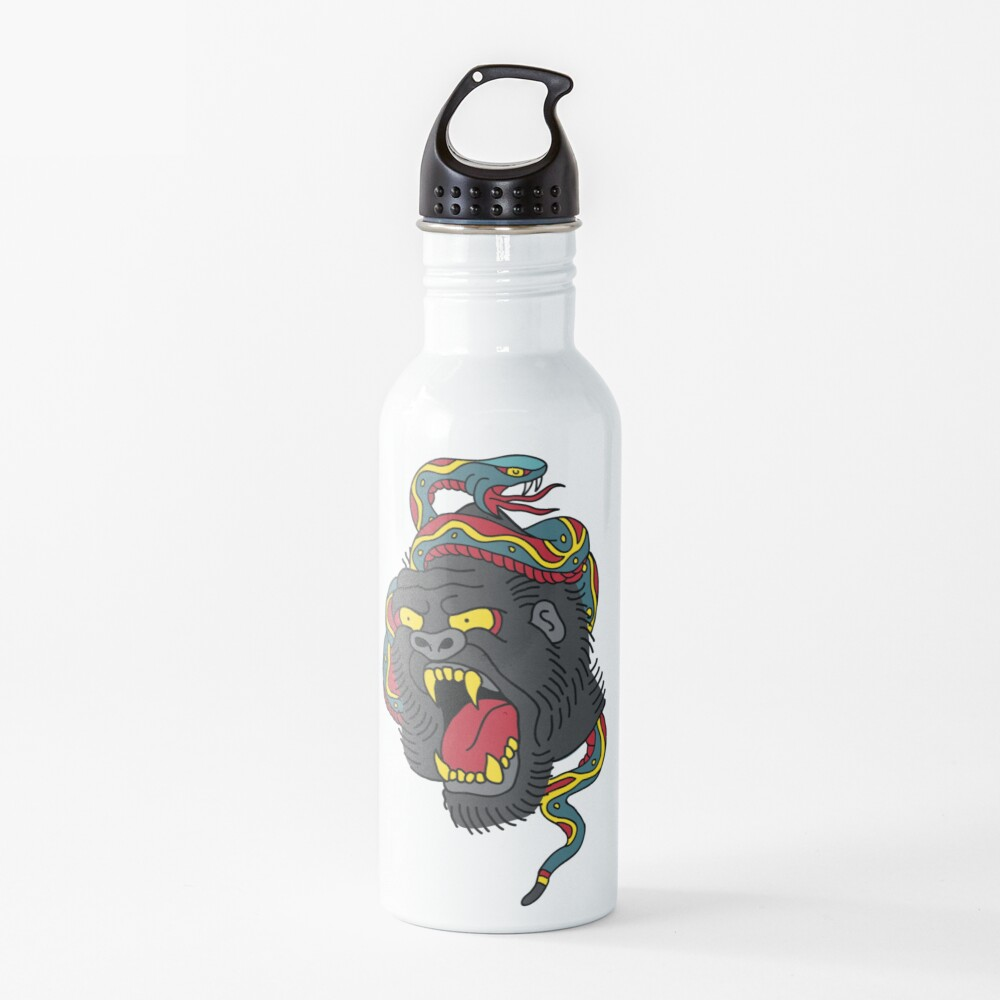 """Gorilla vs Snake"" Water Bottle by SKETCHLOSS | Redbubble"