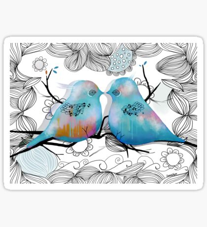 Turquoise Love Birds Sticker