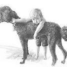 Boy and his dog drawing by Mike Theuer