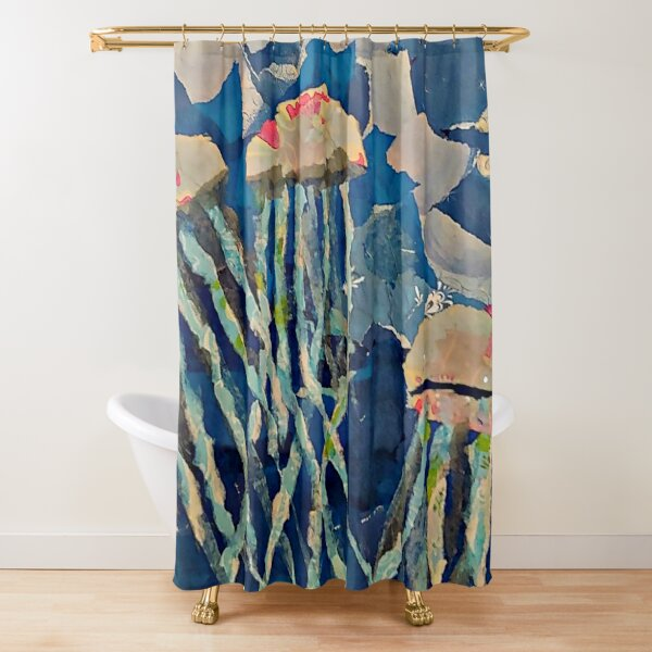 Torn Paper Jellyfish Shower Curtain