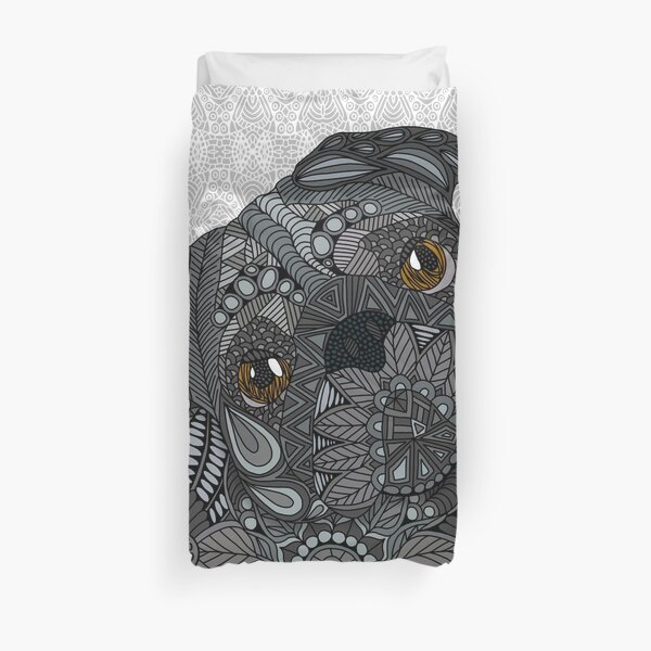 Cute black Pug Duvet Cover