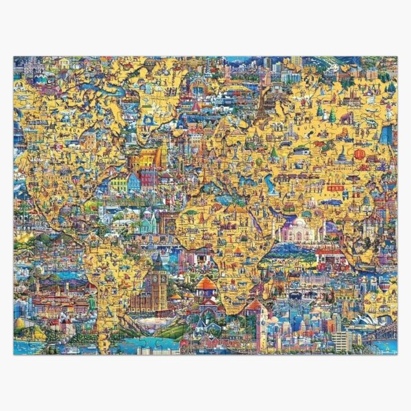 World Map Educational With Color Jigsaw Puzzle
