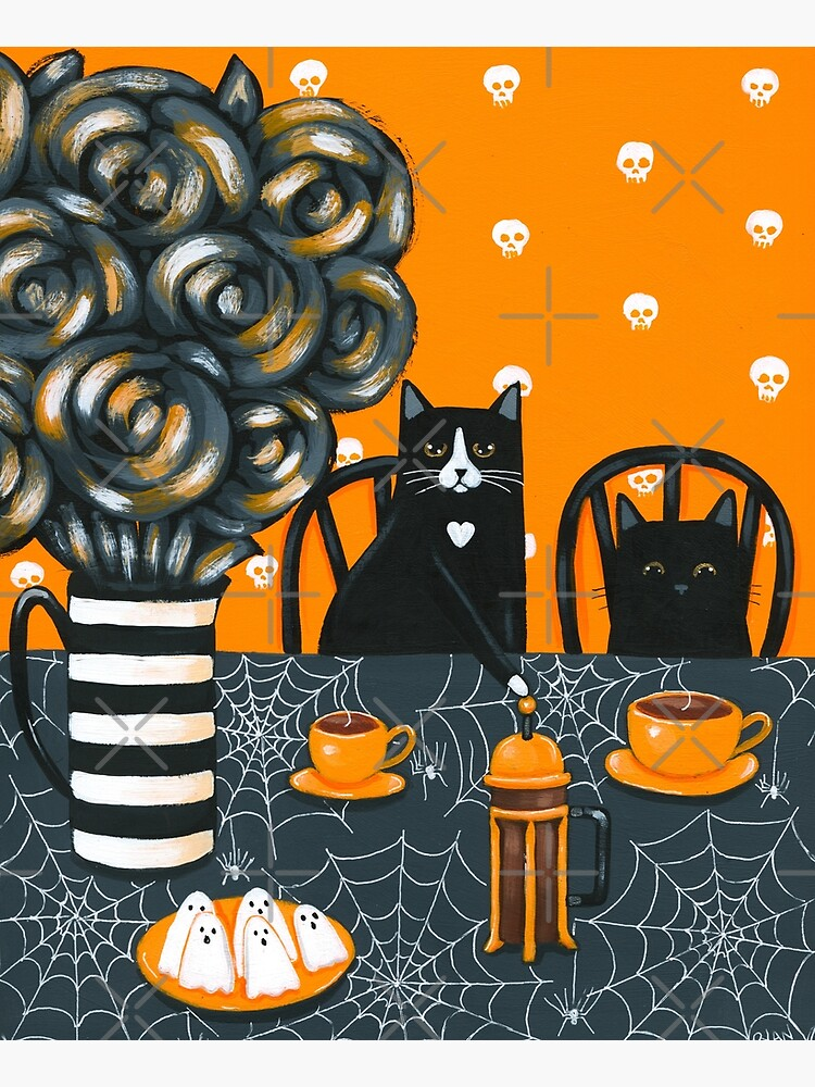 Halloween French Press Coffee Cats by kilkennycat