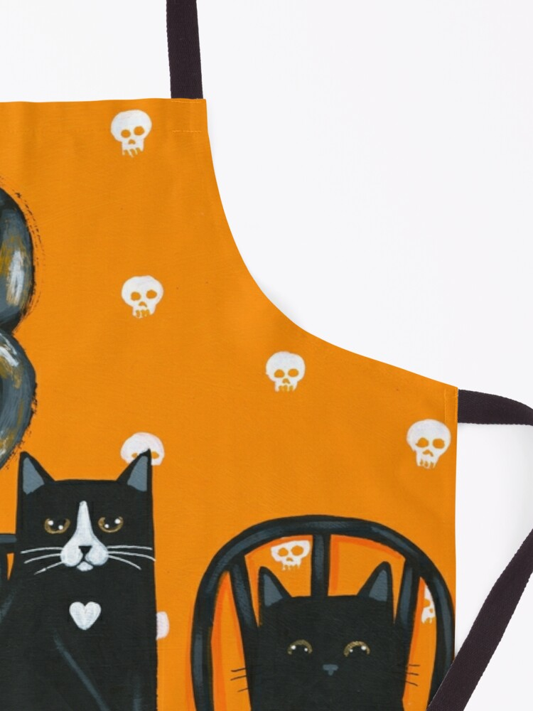 Alternate view of Halloween French Press Coffee Cats Apron