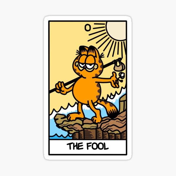 the fool tarot card but it's garfield  Sticker