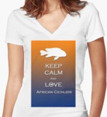 Keep calm Cichlid  Women's Fitted V-Neck T-Shirt