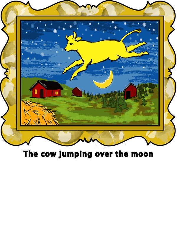 Quot Goodnight Moon The Cow Jumping Over The Moon Quot Stickers By