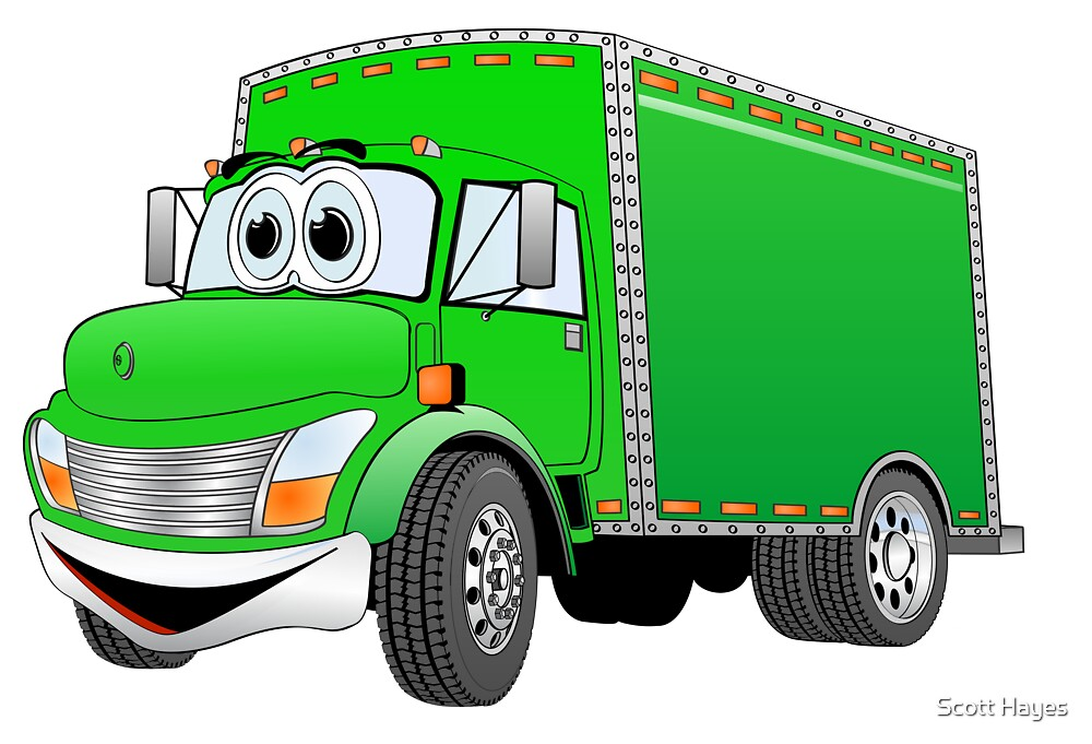 Box Truck Green Cartoon by Graphxpro