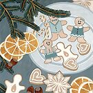 Gingerbread Man Cookies by Yuliya Art