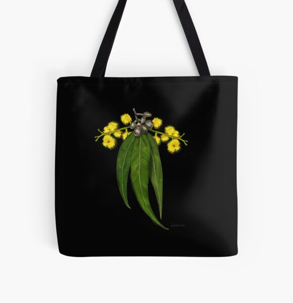 Australian native plant- Gum leaves and wattle All Over Print Tote Bag