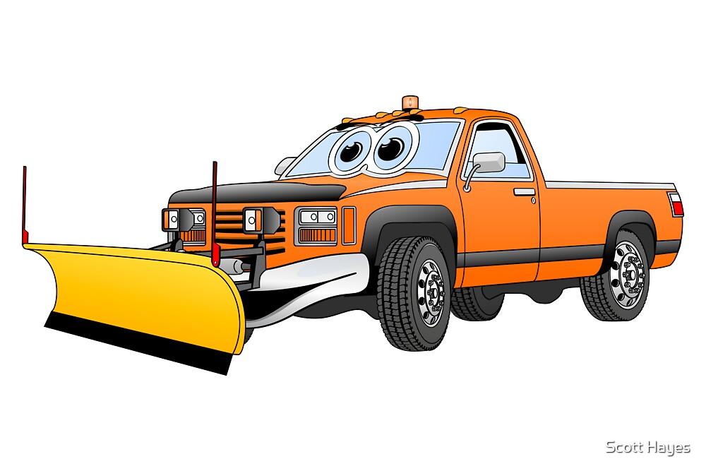 Orange Y Pick Up Truck Snow Plow Cartoon by Graphxpro