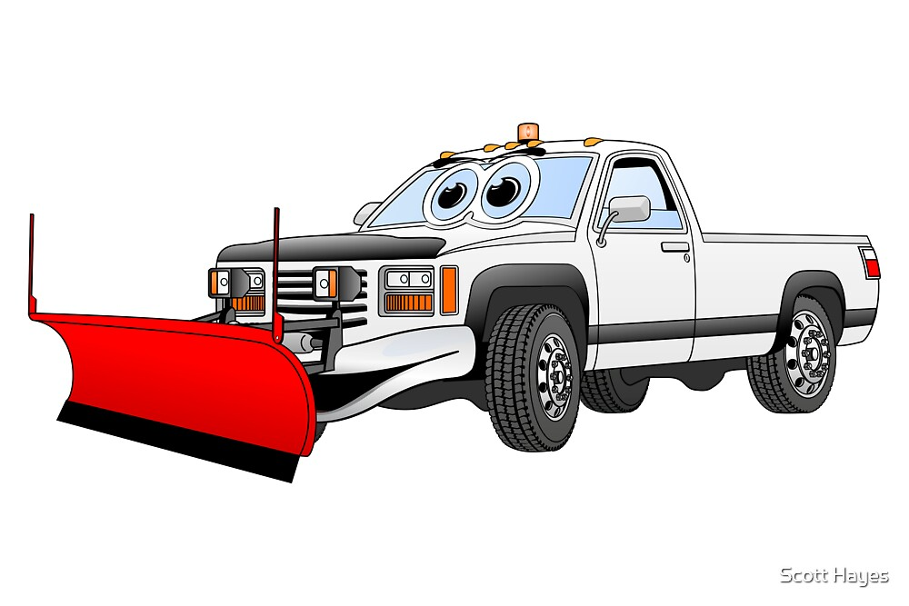 White R Pick Up Truck Snow Plow Cartoon by Graphxpro
