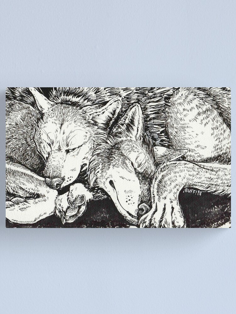 Alternate view of wolf snuggle Canvas Print