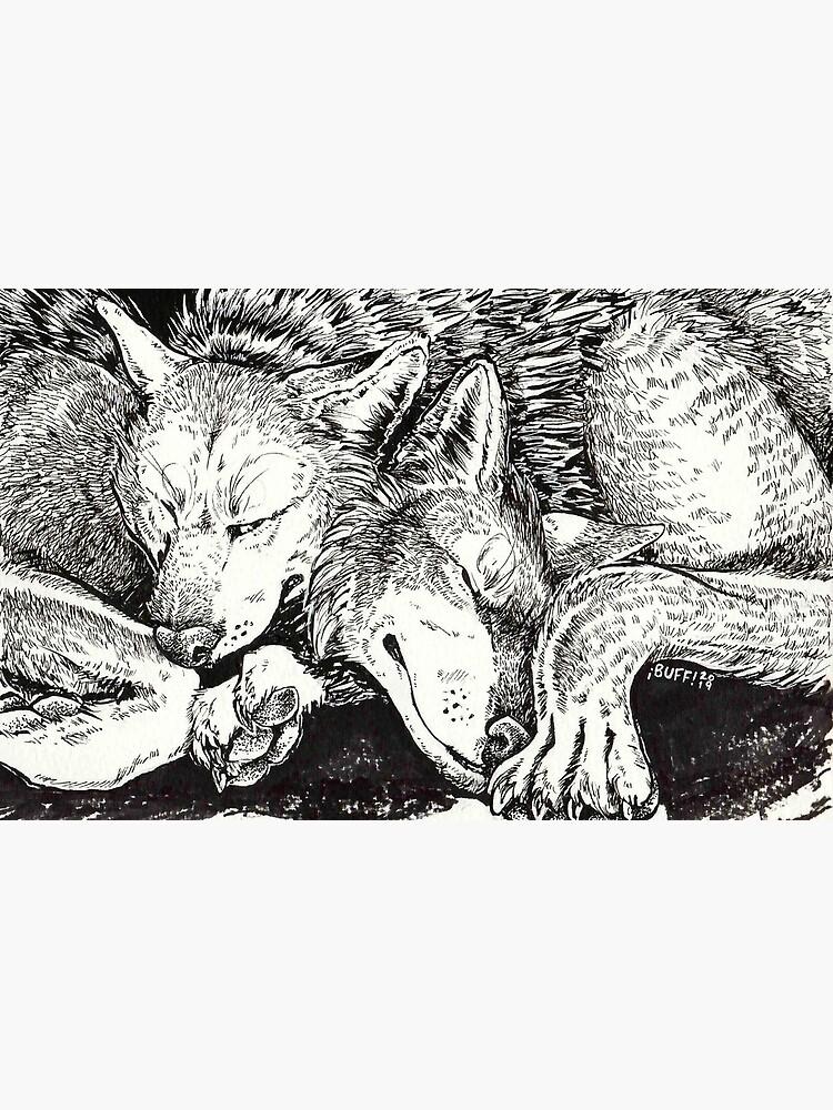 wolf snuggle by buffaluffalo