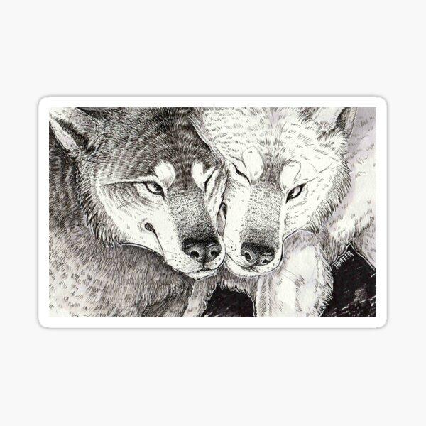 wolf nuzzle Sticker