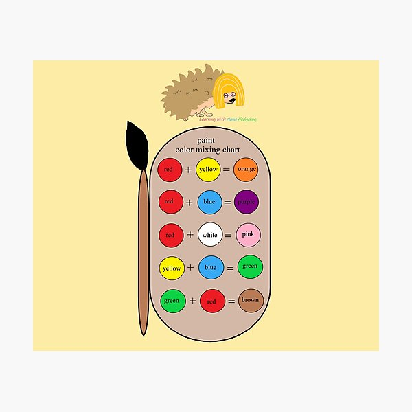 Nana Hedgehog Paint Color Mixing Chart Photographic Print