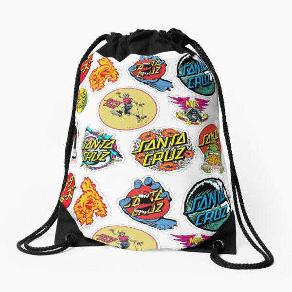 santa cruz sticker pack Drawstring Bag