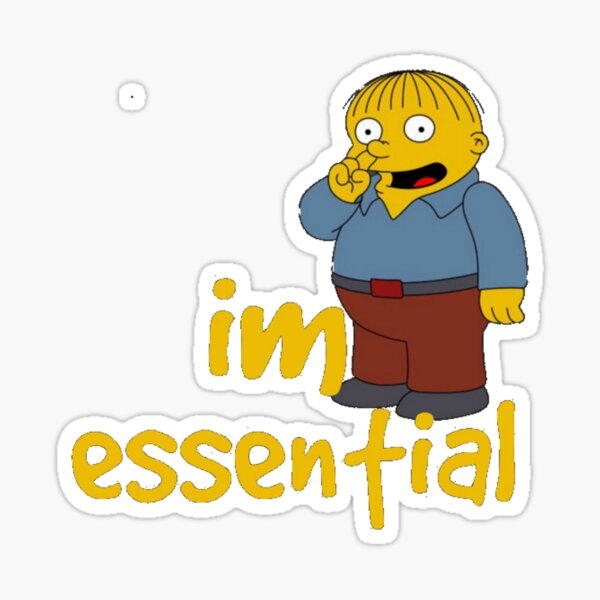 Funny ralph wiggum picking nose I'm essential Sticker